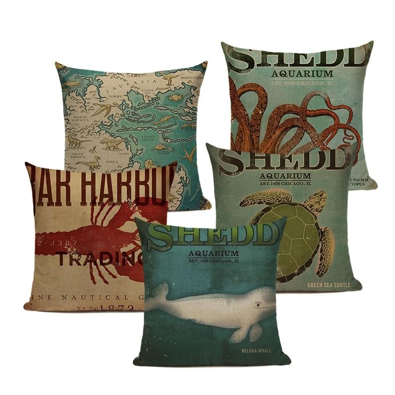 "18"" Vintage Marine Sea Creature Print Throw Pillow Cover"