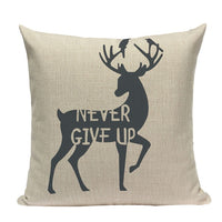 "18"" Northern Bear / Deer Stag Silhouette Pillow Cover"