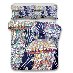 2/3-Piece Bohemian Jellyfish Print Duvet Cover Set