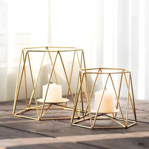 Gold Geometric Angled Hexagon Metal Wire Candle Holder
