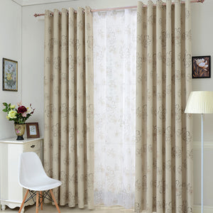 Beige Abstract Azalea Floral Pattern Window Curtains