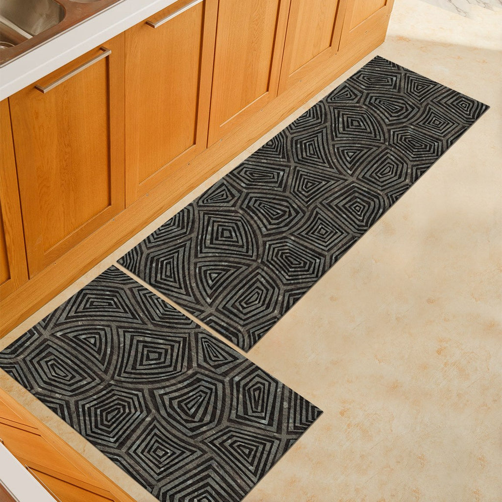 Gray Abstract Shell Pattern Door Mat / Floor Runner