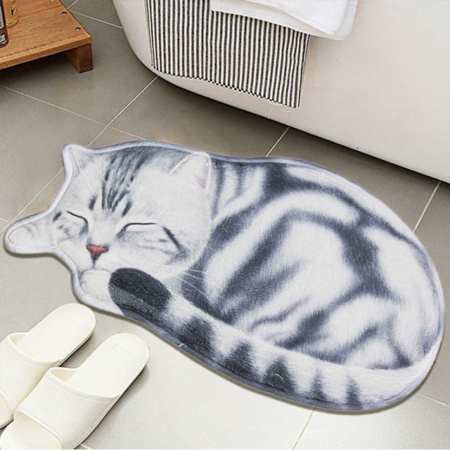 Lazy Sleeping Kitty Cat Shape Floor / Door Mat
