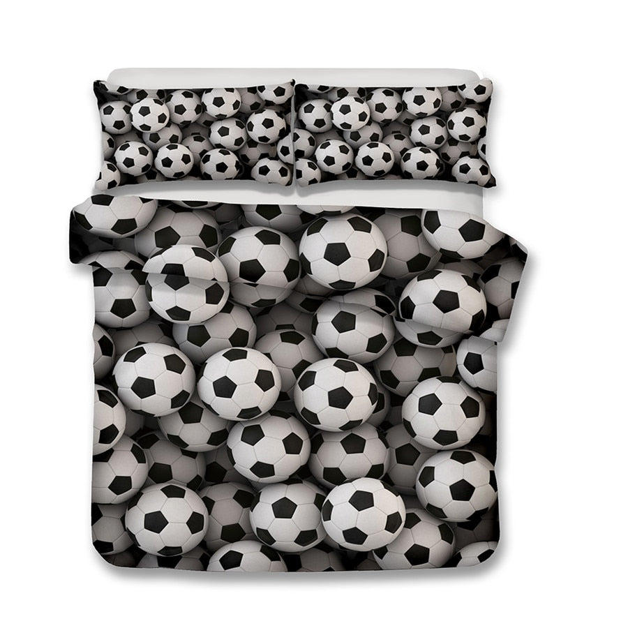 2/3-Piece Soccer Ball Print Duvet Cover Bedding Set