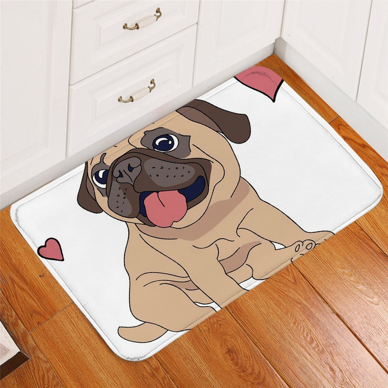 White Pug Puppy Dog Love Door / Floor Mat
