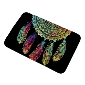 Black Rainbow Dreamcatcher Door / Floor Mat