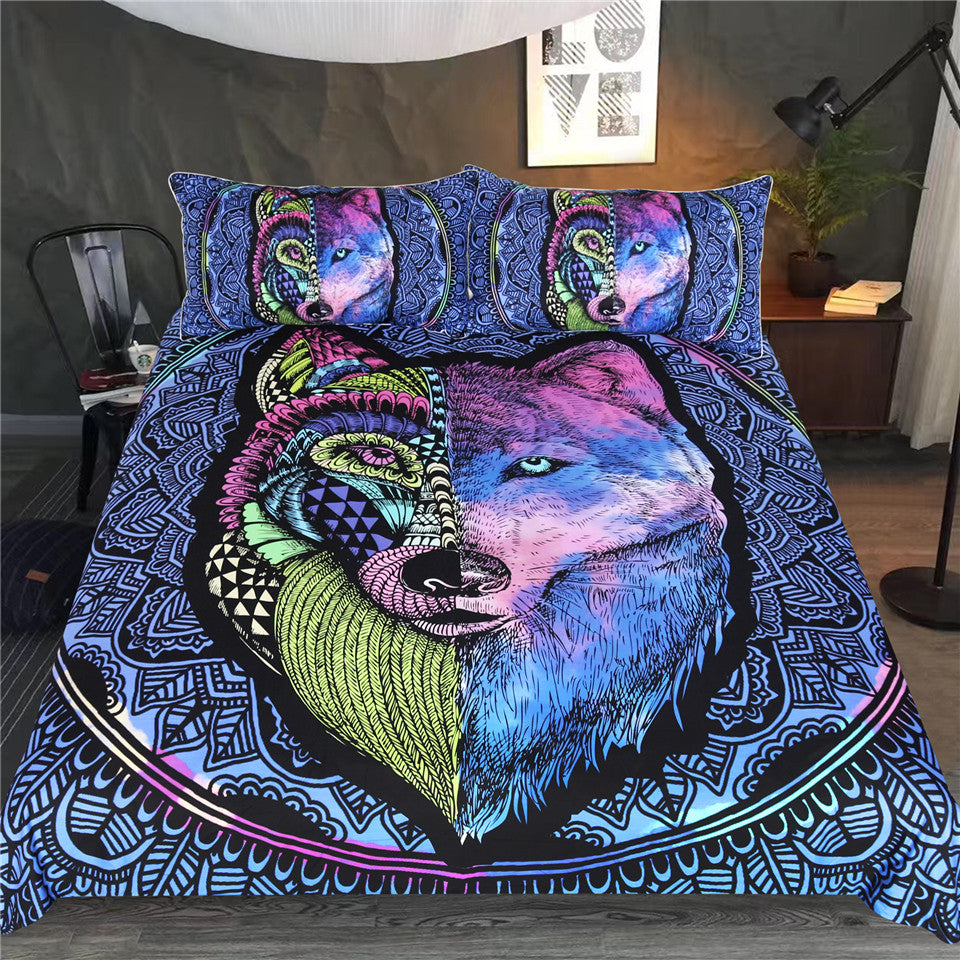 3-Piece Split Wolf Mandala Print Duvet Cover Set
