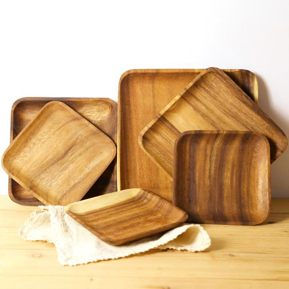 Natural Acacia Wood Dinner / Food Tray Plate