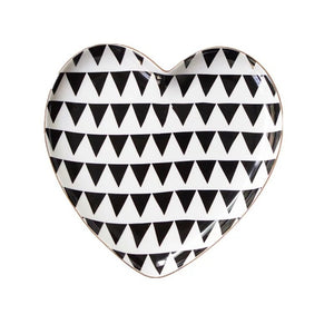 Geometric Pattern Heart-Shaped Snack / Dessert Dish Plate