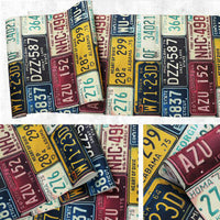 Retro Car License Plate Pattern Vinyl Wallpaper