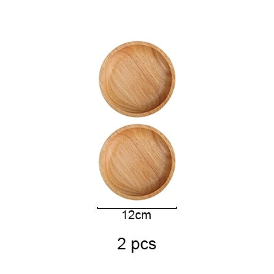 Round Natural Rubber Wood Dinner / Food Tray Plate