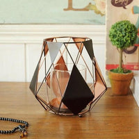 Black / Copper Modern Geometric Metal Sail Candle Holder