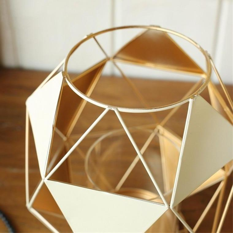 White / Gold Modern Geometric Metal Sail Candle Holder