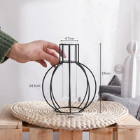 Black Geometric Metal Wire Glass Flower Vase