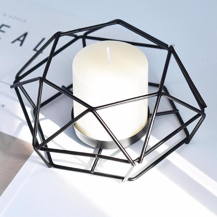 Low Profile Black Geometric Metal Wire Candle Holder