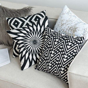"18"" Black & White Embroidered Geometric Pillow Cover"