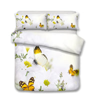 2/3-Piece Colorful Flower Butterfly Print Duvet Cover Set
