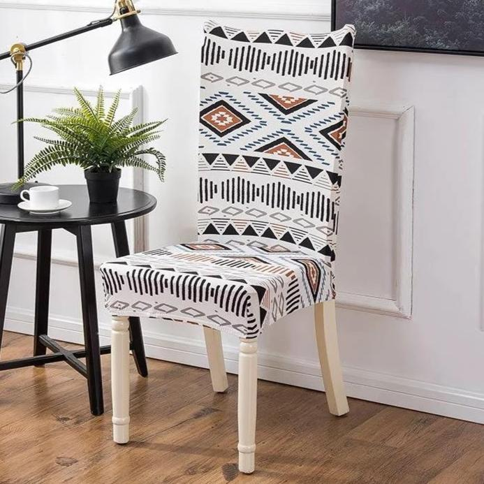 White Geometric Native / Aztec Pattern Dining Chair Cover