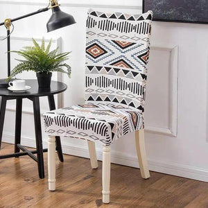 White Geometric Aztec Pattern Dining Chair Cover