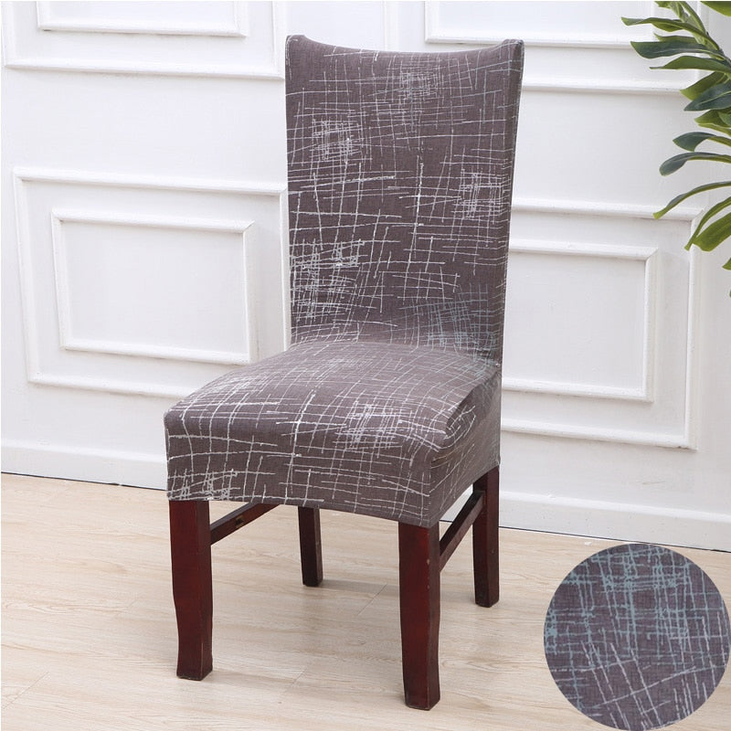 Taupe Abstract Scratch Pattern Dining Chair Cover
