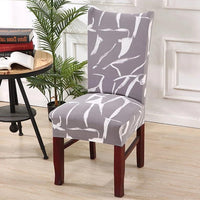 Gray Abstract Crack Pattern Dining Chair Cover