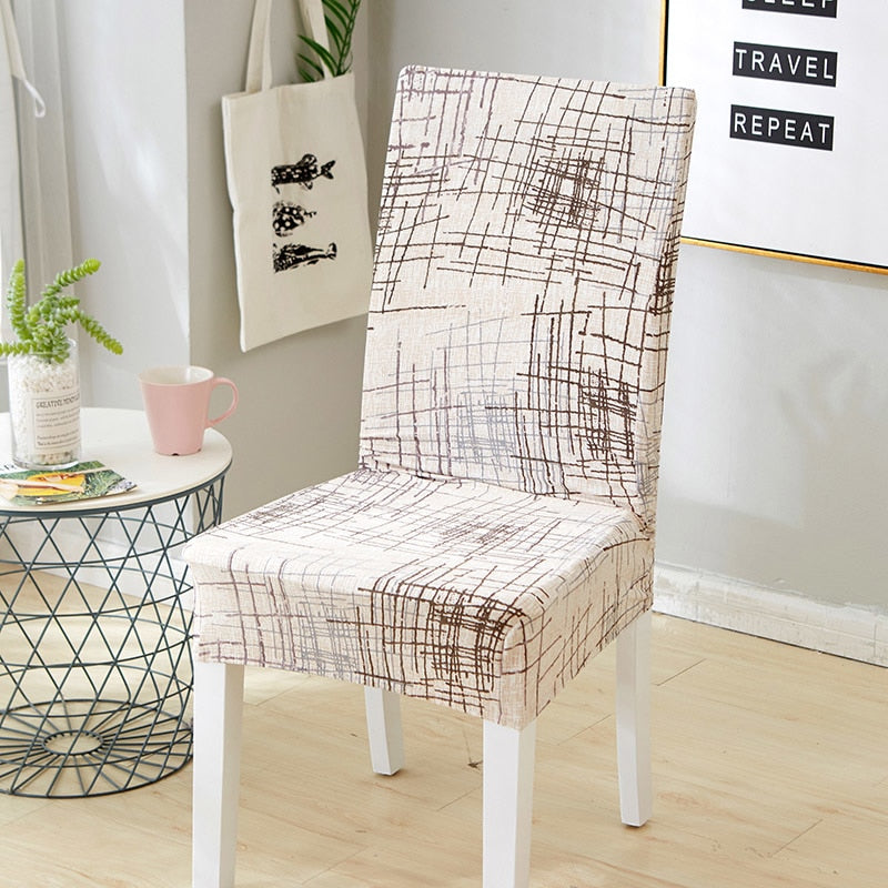 Ivory Abstract Scratch Pattern Dining Chair Cover