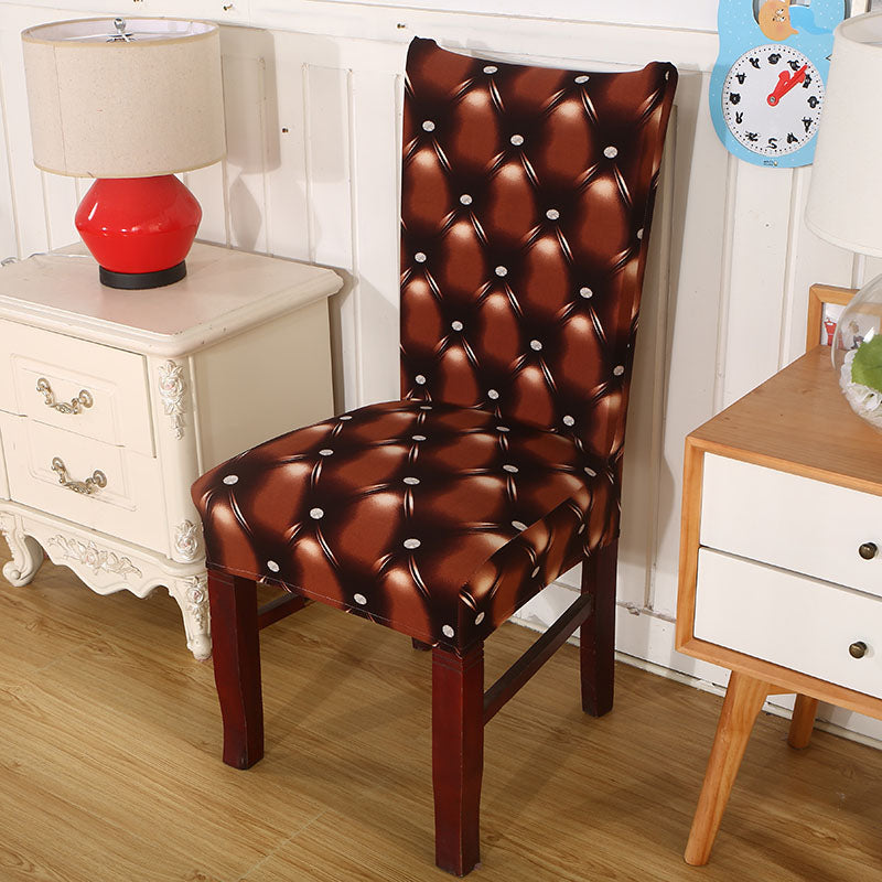 Tufted Leather Print Dining Room Chair Cover Decorzee