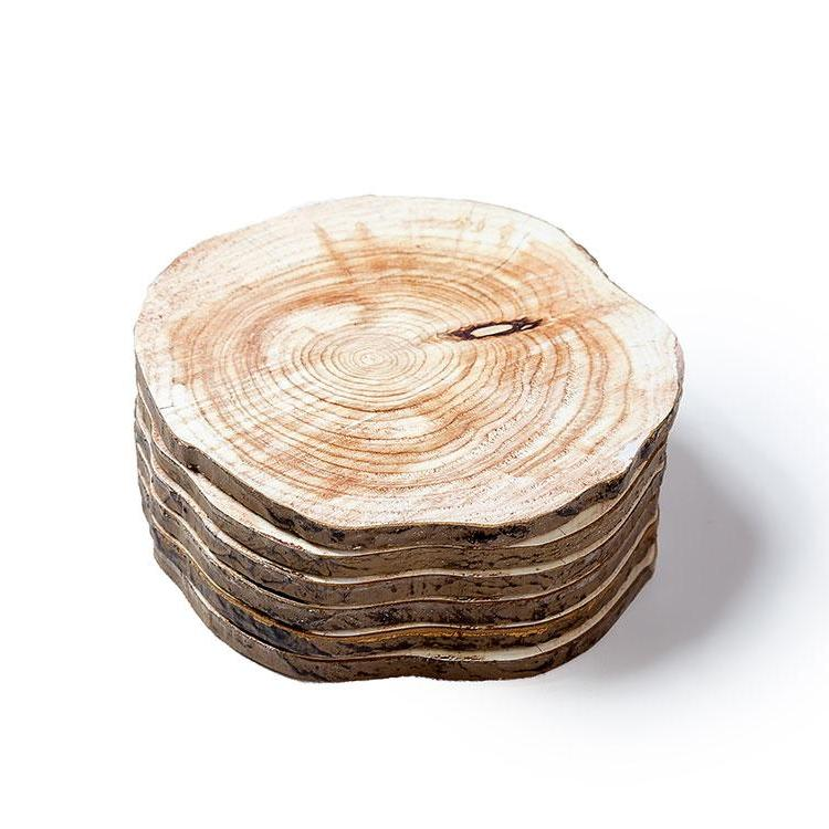 6-Piece Natural Wood Print Drink Coaster Set