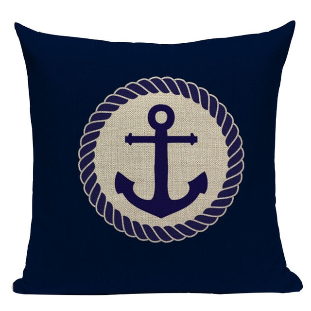 "18"" Navy Blue Nautical Inspiration Throw Pillow Cover"