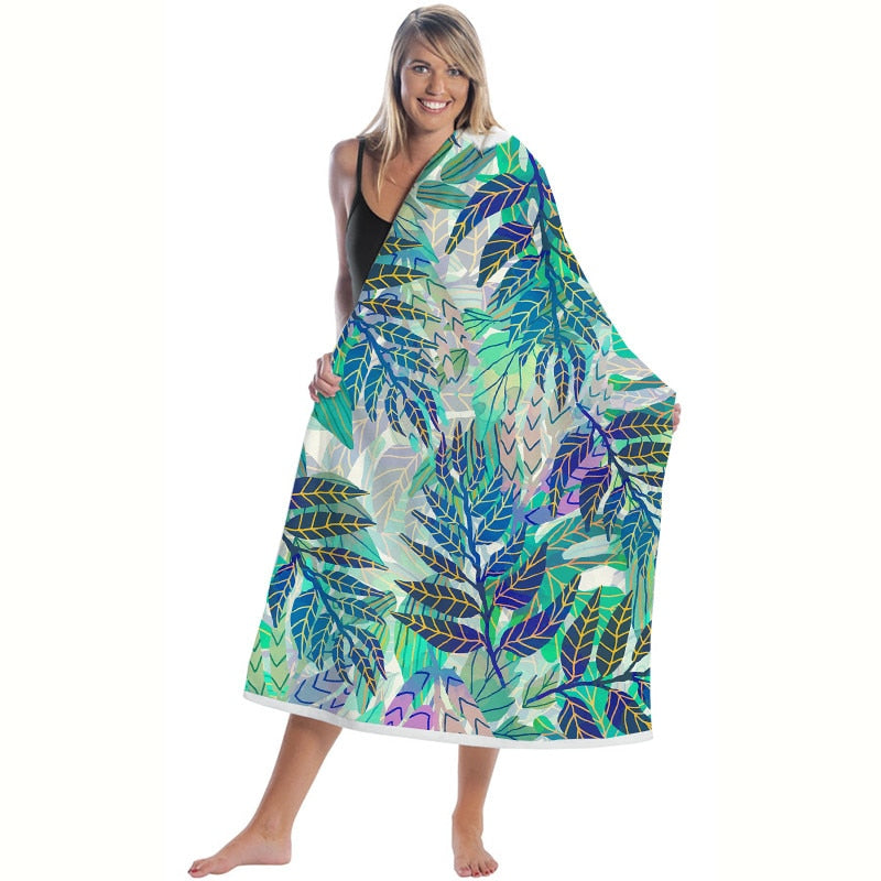 Quick-Dry Palm Leaf Pattern Microfiber Beach Towel