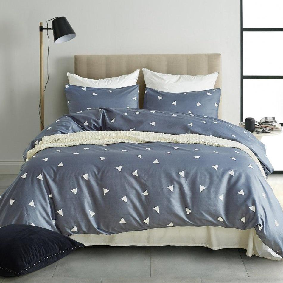 Blue Gray 2/3-Piece Geometric Triangle Pattern Duvet Cover Set
