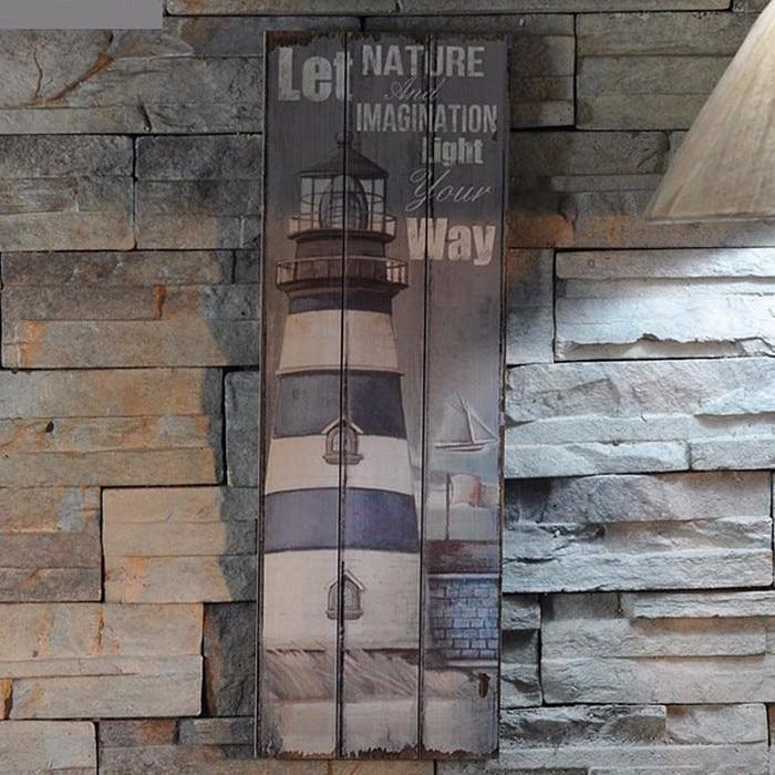 Rustic Nautical Wood Lighthouse Wall Art Sign