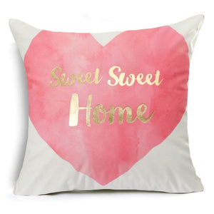 "18"" Pink & Gold Printed Microfiber Throw Pillow Cover"