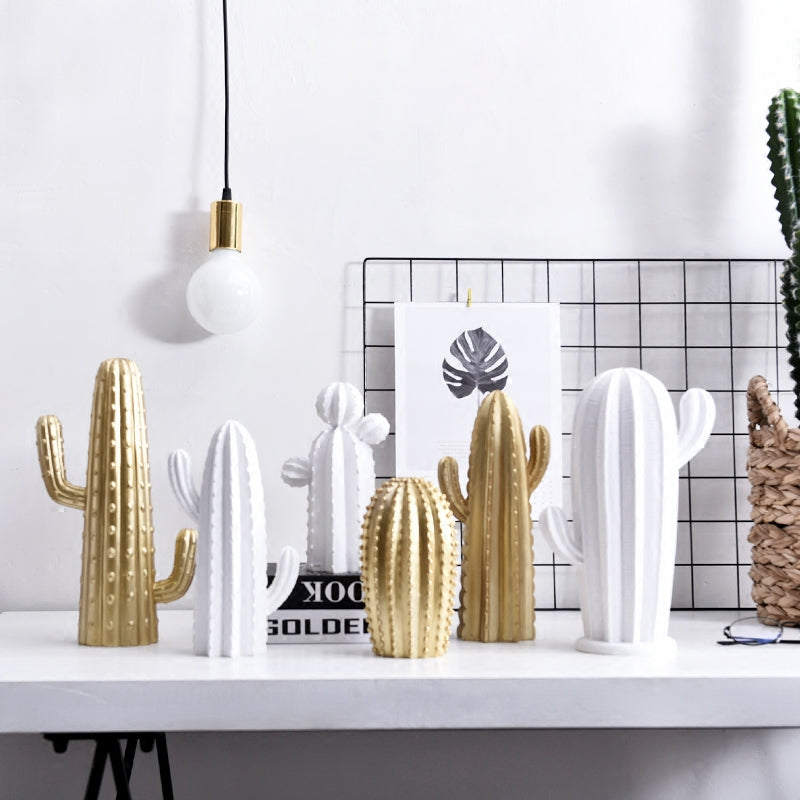 White / Gold Contemporary Resin Cactus Sculpture