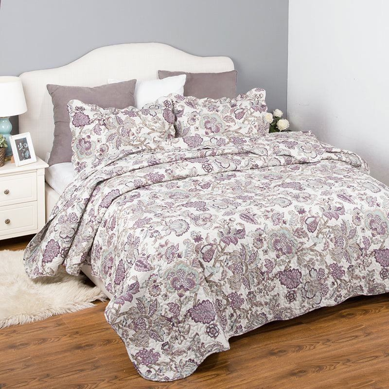 White 2/3-Piece Floral Pattern Quilt Bedspread Coverlet Set