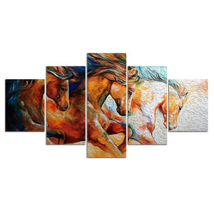5-Piece Abstract Running Wild Horses Canvas Wall Art