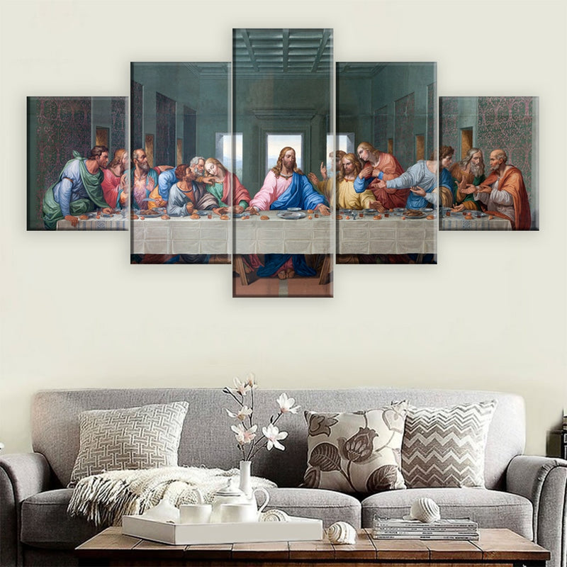5-Piece Christian Jesus Last Supper Canvas Wall Art
