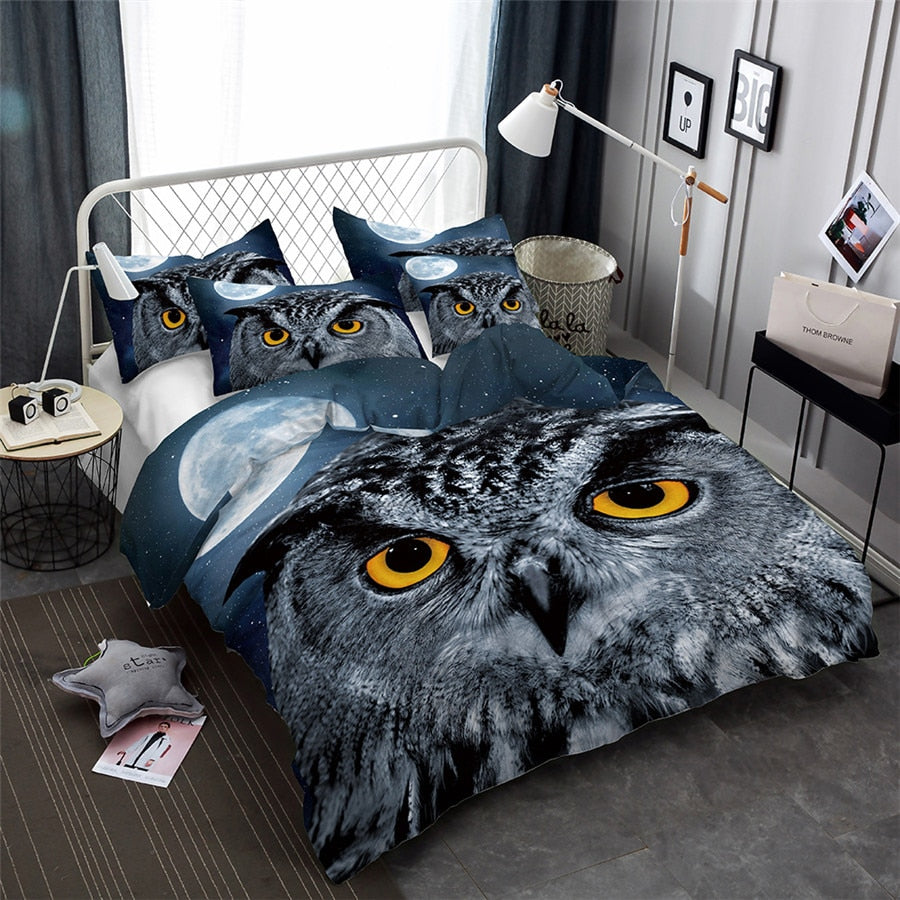 2/3-Piece Night Owl Print Duvet Cover Bedding Set