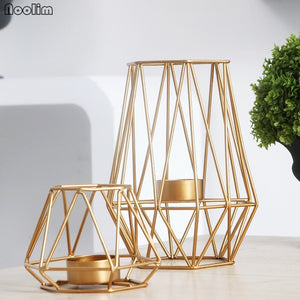 Gold Geometric Convex Hexagon Metal Wire Candle Holder