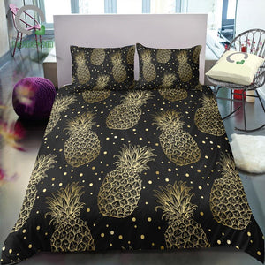 Black 2/3-Piece Gold Pineapple Pattern Duvet Cover Set
