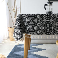 Black Geometric Bohemian Pattern Tablecloth w/ Tassels
