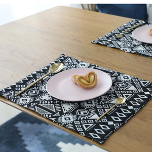 4-Piece Black Geometric Bohemian Pattern Table Placemat Set