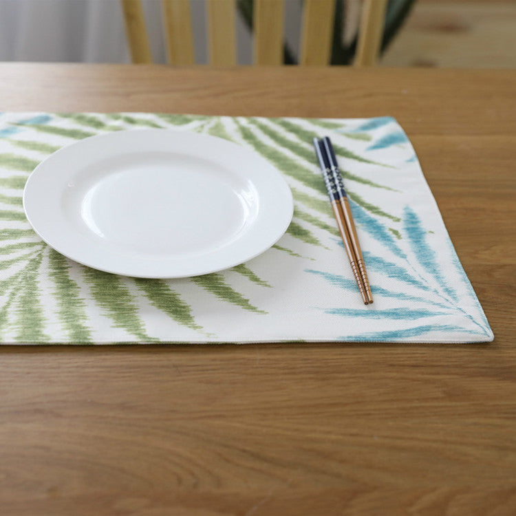 4-Piece Blue / Green Palm Leaf Pattern Table Placemat Set