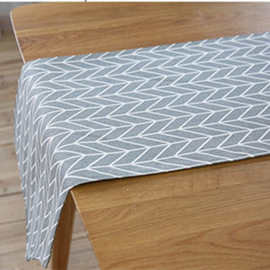 Gray Geometric Arrow Pattern Cotton Linen Table Runner
