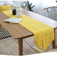 Yellow Geometric Triangle Pattern Cotton Linen Table Runner