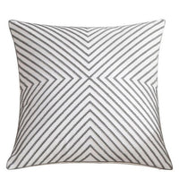"18"" Gray Embroidered Geometric Throw Pillow Cover"
