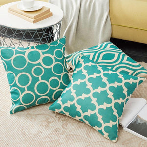 Teal Turquoise Geometric Pattern Pillow Cushion Cover