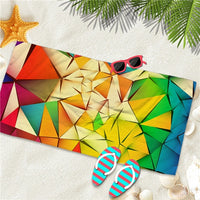 Quick-Dry Geometric Rainbow Microfiber Beach Towel