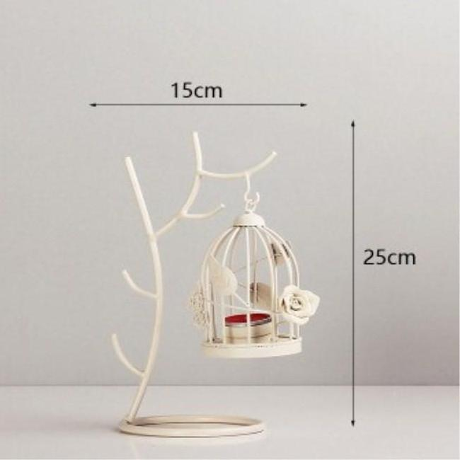 Vintage Ivory Metal Bird Cage Tealight Candle Holder