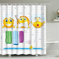 Kids Bathing Cartoon Emoji Bathroom Shower Curtain